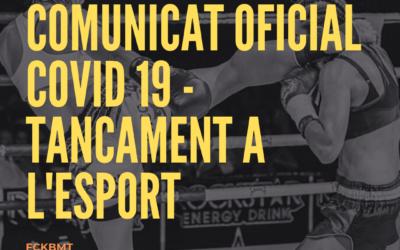 Comunicat Oficial Covid 19 Tancament Esport 30 octubre al 13 novembre