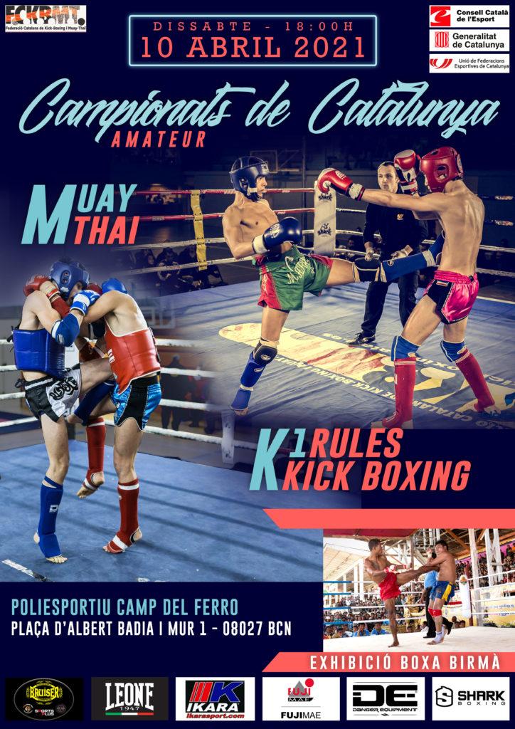 Poster Campionats de Catalunya 2021 mixtes de Kick-Boxing i Muay Thai, que se celebren el proper 10 d'abril