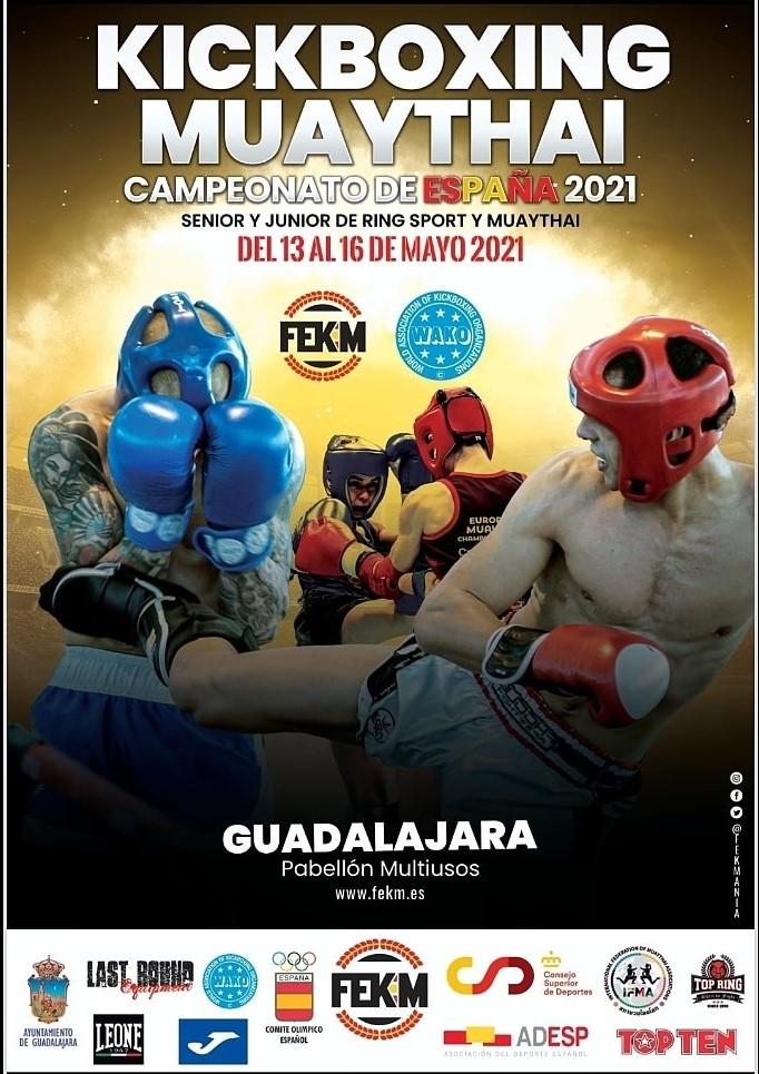 Poster de los Campeonatos con imagenes de combates de patada en giro y cruce de contras de puño