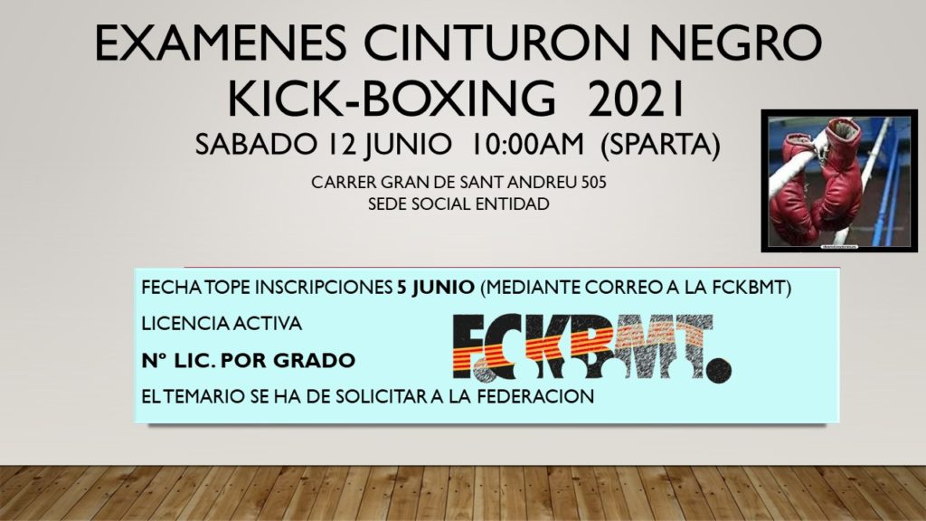 Pared con datos de la celebración de los exámenes de Cinturón Negro de kick Boxing